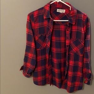 Pink Rose women's red & navy plaid flannel SZ S